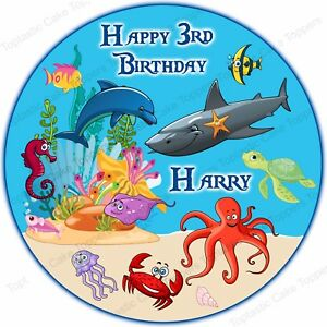 Personalised Ocean Sealife Sea Animals Edible Icing Birthday Party