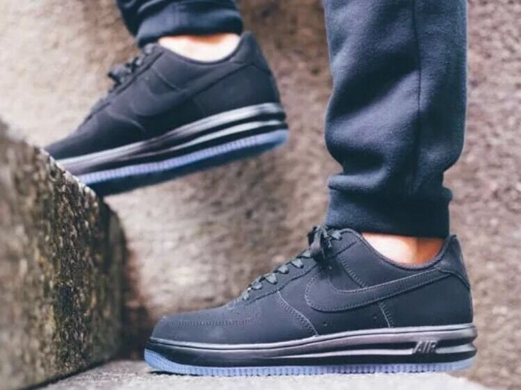 Nike Lunar Air Force 1 '14 Triple Black Ice Sz 7 Men's All Out Space 654256-001