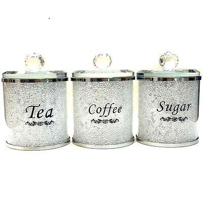 CRUSHED DIAMOND SILVER CRYSTAL FILLED TEA COFFEE SUGAR CANISTER STORAGE JARS