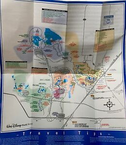Details zu WALT DISNEY WORLD MICKEY MOUSE PROPERTY MAP & TRANSPORTATION  GUIDE circa 1999