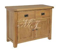 Solid Chunky Wood Rustic Oak Medium Sideboard Cupboard Cabinet