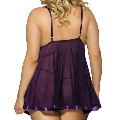 Details about  /Plus Size Lady Sheer Dress Lingerie Lace Babydoll Sleepwear Underwear Nightdress