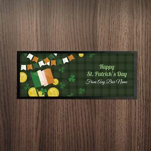 Personalised-St-Patrick-039-s-Day-Irish-Flag-amp-Lucky-Coins-Design-Bar-Runner-Bar