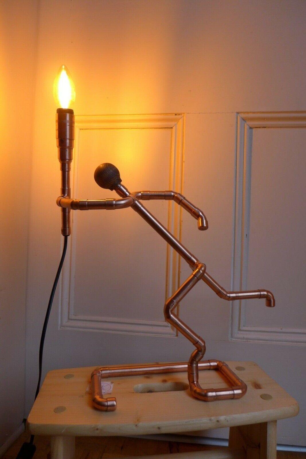 Copper man table lamp design handmade home cottage barn farm pub loft art HQ P3