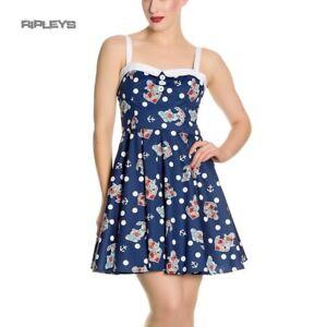 Hell-Bunny-Navy-Blue-50s-Nautical-Mini-Dress-OCEANA-Polka-Dot-All-Sizes