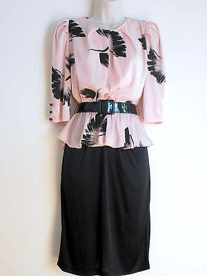 Vintage 1970s 80s PEPLUM DRESS Pink & Black Sexy BOHO Secretary Shiny Belt Sz 5