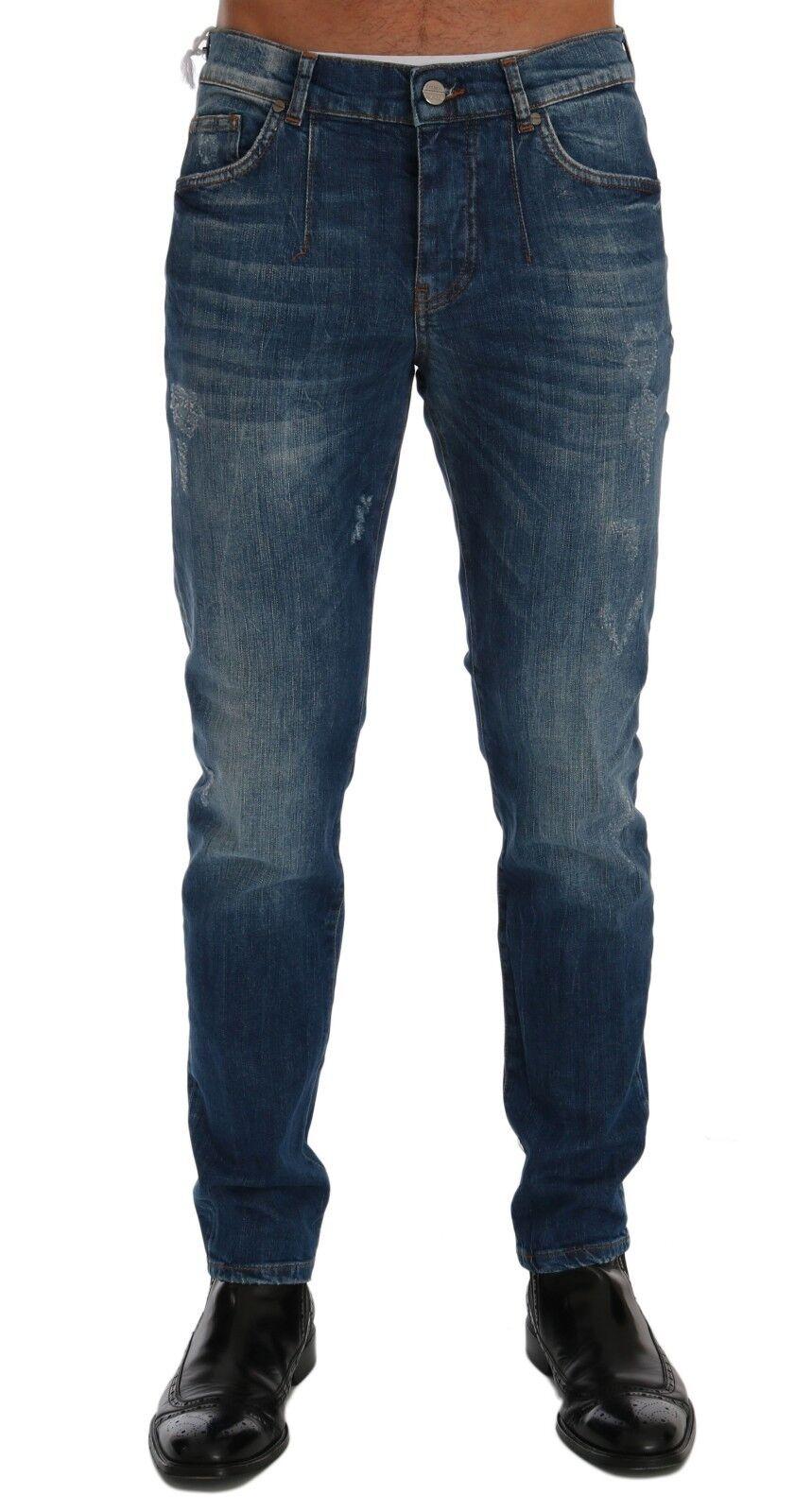 Nuovo Frankie Morello Lavaggio di Jeans Blu Perth Jeans Aderente Stretch S.W36