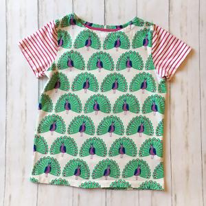 NEW RRP £16.99 Mini Boden Peacock Stripe Print T-shirt U23