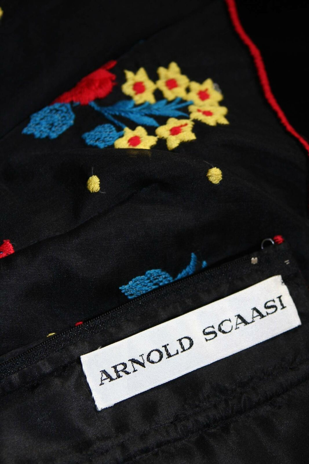 ARNOLD SCAASI Black Velvet Embroidered Gown with … - image 9