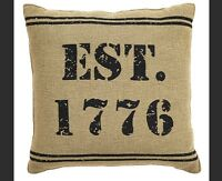 1776 Patriotic Pillow : Usa Primitive Burlap Rustic Country Americana Cushion