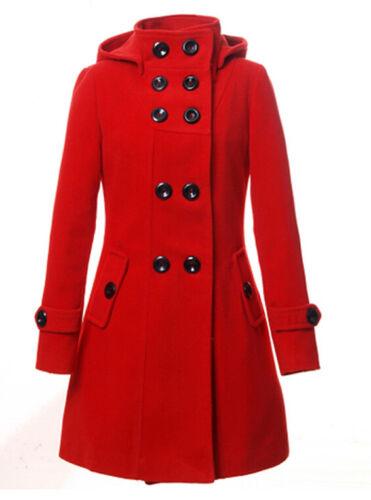 Parka con petto lungo in doppio trench donna lana da cappuccio Cappotto coat rqrOZCn
