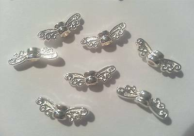 Metall Engelsflügel Schutzengel hell ! 50 MINI Flügel Schmetterling silber !