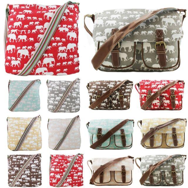 Ladies Designer Elephant Canvas Satchel Messenger Cross Body School College Bag