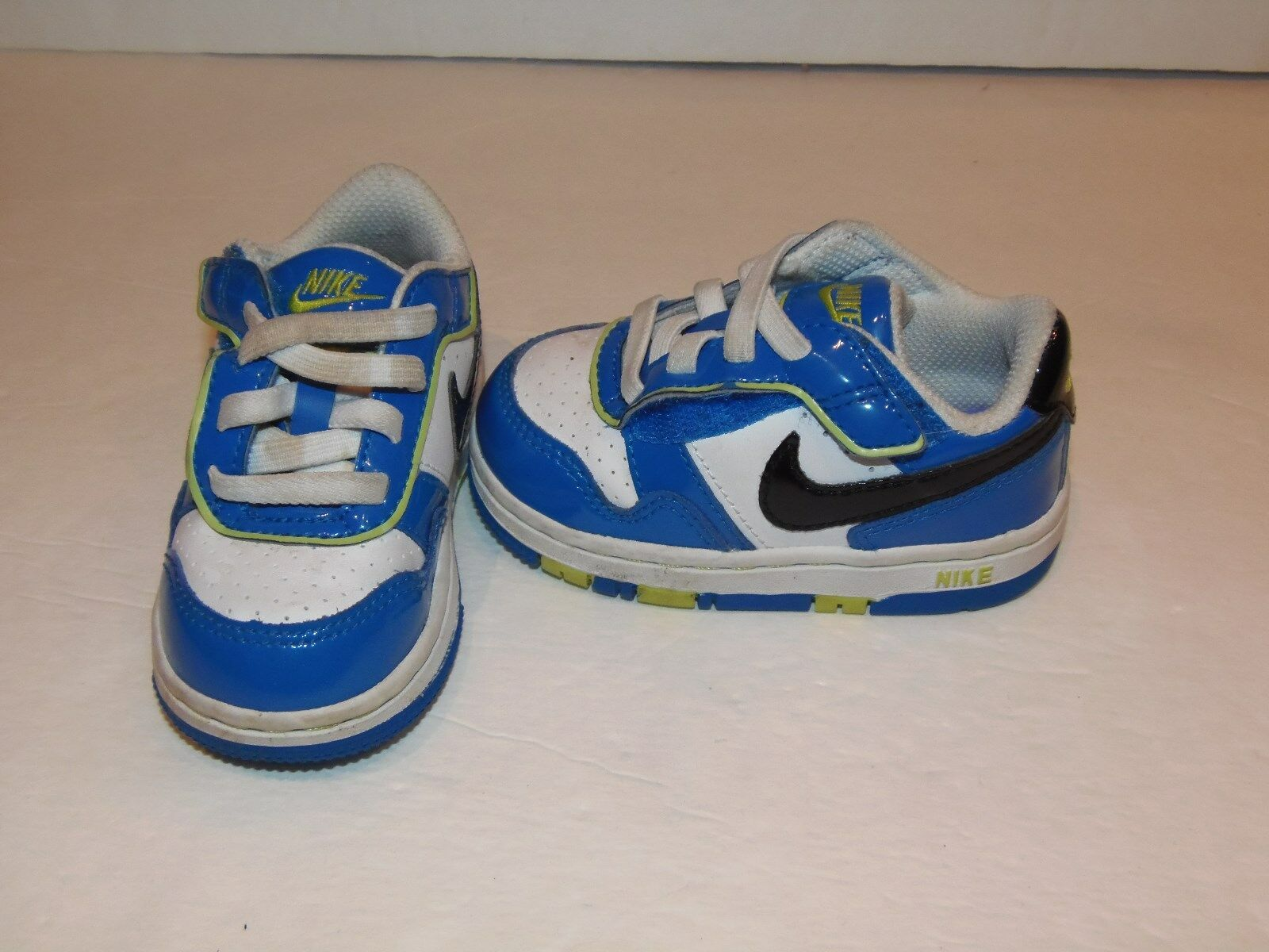 Toddlers Nike Size 5c Velcro Faux Laces Basketball Shoes Blue Neon