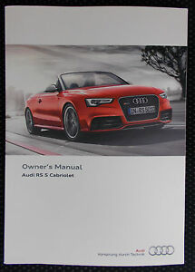 genuine audi rs5 cabriolet owners manual handbook 05 2014 edition rh ebay co uk 2013 audi rs5 owners manual 2014 audi rs5 owners manual