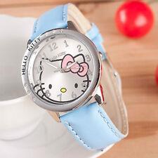 Kids Girls Hello Kitty Light Blue Wrist Watch Analog Leather Strap Steel Back B