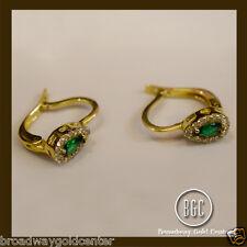 3.02 TCW Pear Shape Emerald & Round Cut Earrings 14k Yellow Gold 1.4 CM