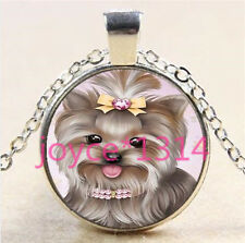 Yorkshire Terrier Cabochon Tibetan silver Glass Chain Pendant Necklace #6043
