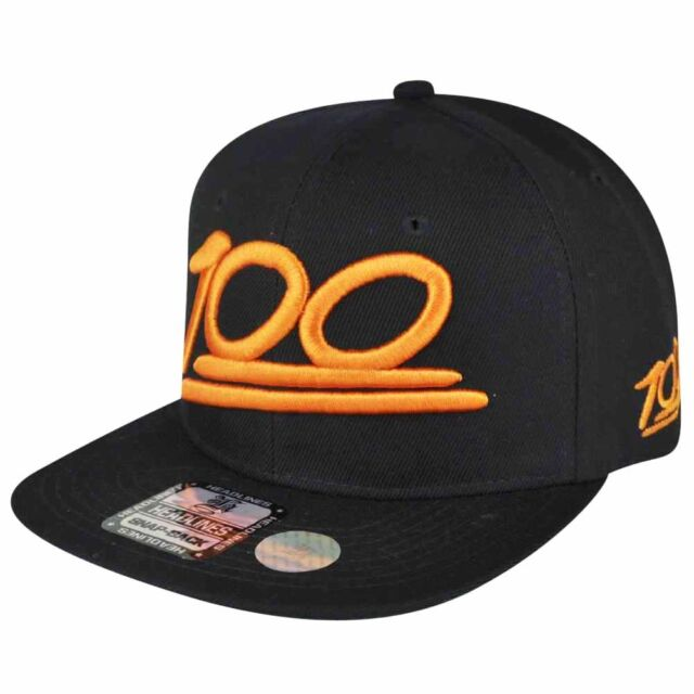 100 One Hundred Emoji Emoticons Text Symbol Snapback Hat Cap Flat