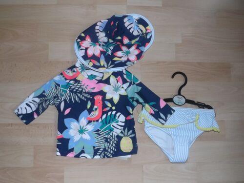 M/&S BABY GIRLS SUN SAFE UV BIKINI SWIMSUIT /& HAT AGE 6-9 MONTHS BNWT SUN SUIT
