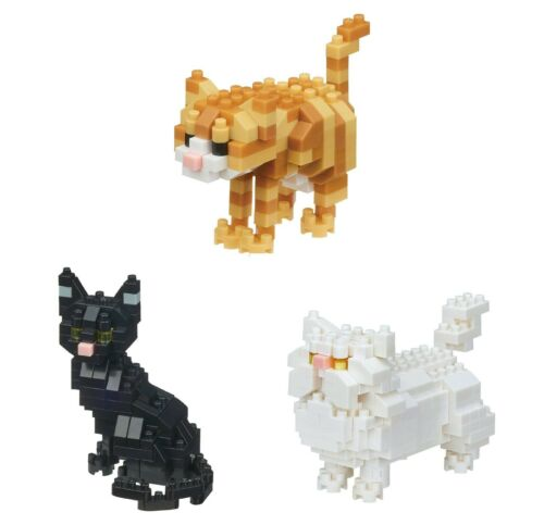 3 Cat Sets Nanoblocks Tabby Cat Black Cat and Persian Cats