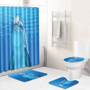 Dolphins-Bathroom-Rug-Set-Shower-Curtain-Non-slip-Toilet-Lid-Cover-Bath-Mat
