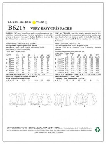 beurre... Butterick femme Easy sewing pattern 6215 Ample Pull Tops