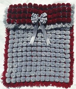 POM POM TURNOVER BLANKET BABY BLUE /& WHITE BABY BOY  WITH REMOVABLE BOWS