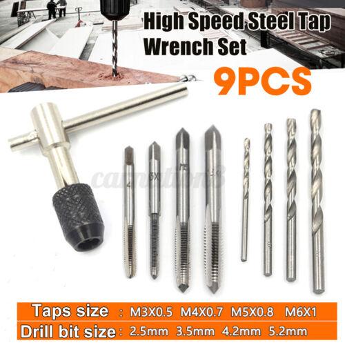 Wrench Reamer M3-M6 Twist Drill 9Pcs Hand Tap Set Screw Thread Taps T