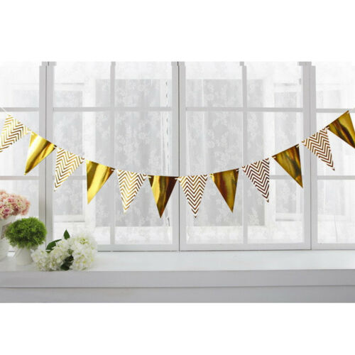 Triangle Twinkle Gold//Silver Paper Flag Bunting Banner Garland Party Home Decor