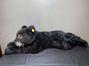 "Steiff Black Panther Plush Stuffed Animal Toy 0387/75 Jumbo XL 30"" x 8.5"""