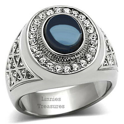 Dark Blue Ring Men's Oval Dome Stone Silver Stainless Steel