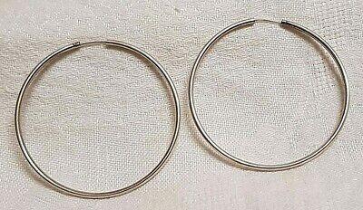 Boucles D/'Oreilles Créoles CLASSIQUE 5 cm  Fil MOYEN 2 mm en ARGENT Massif NEUF