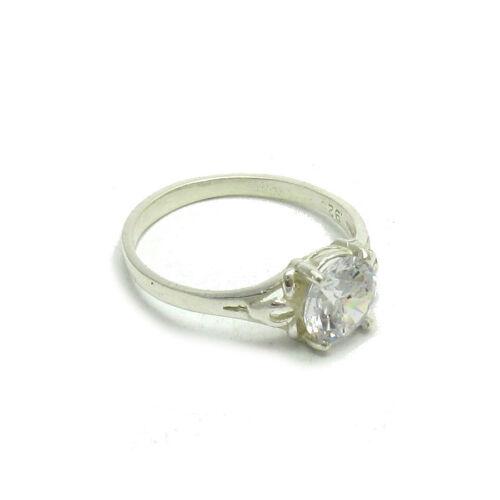 Echter Sterling Silber Ring mit 7mm Zirkonia massiv punziert 925 handgefertigt