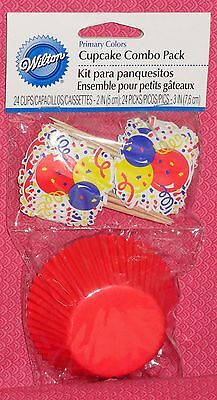 Enthusiastic Red Celebration Cupcake Papers Combo Pack,picks Party Buy One Give One Wilton,primary Colors