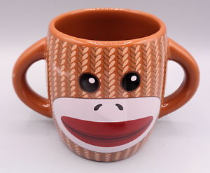 Galerie DOUBLE SIDED GRAY SOCK MONKEY Ceramic Coffee Tea Cocoa Mug Cup 16 oz