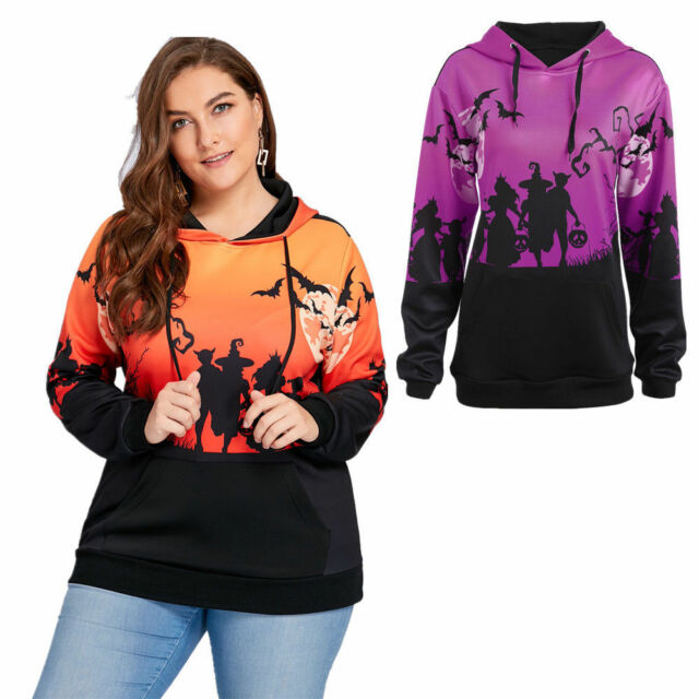 Halloween Plus Size XL-5XL Moon Bat Print Fashion Hoodie with Pocket Fall NEW