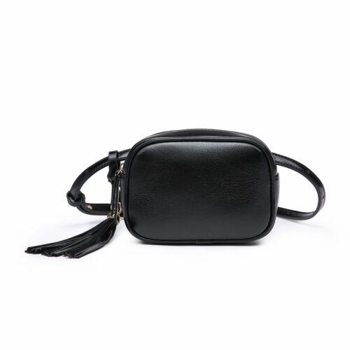 Womens Tassel Detailed Shiny Faux Leather Fashion Handbag Shoulder Crossbody Bag