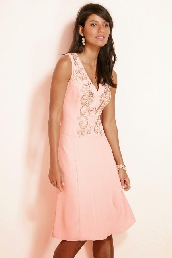 Next Embroidered Peach Dress 6