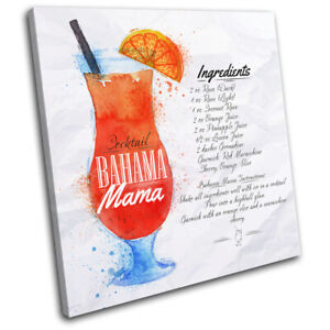 Bahama-Mama-Cocktail-Recipe-Vintage-SINGLE-CANVAS-WALL-ART-Picture-Print