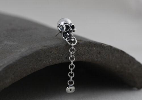 I05 arete pendientes calavera el cráneo con cadenita plata 925