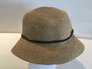 6bb8e72baf3f93 Nine West Packable UPF 50+ Hat Fedora New Brown Cord Trim Tan ...