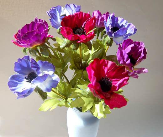 Shabby anemone bush chic multi colour mini bunch artificial silk spray of artificial silk anemones mightylinksfo