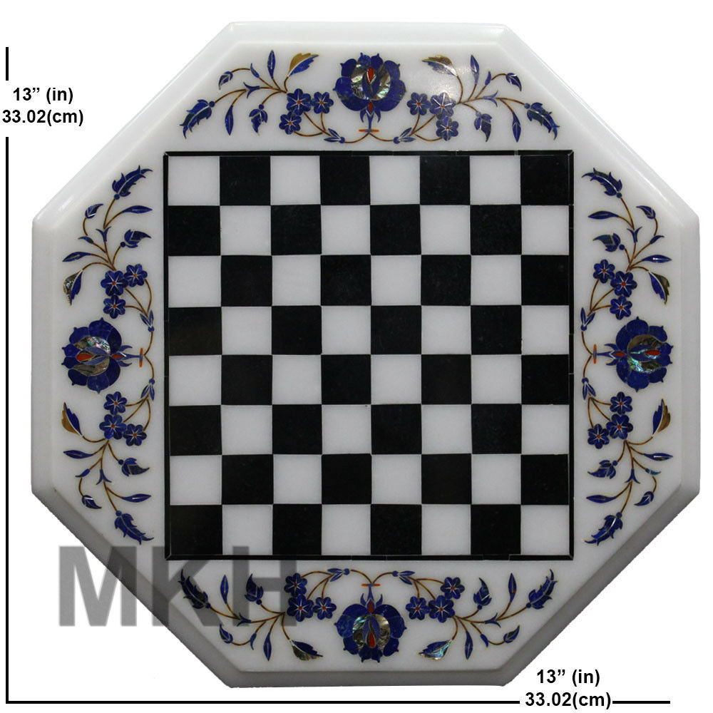 Marble Chess Board Inlay Table Top Handmade Handmade Handmade Pietra Dura Coffee Table Vintage Art 0b54df
