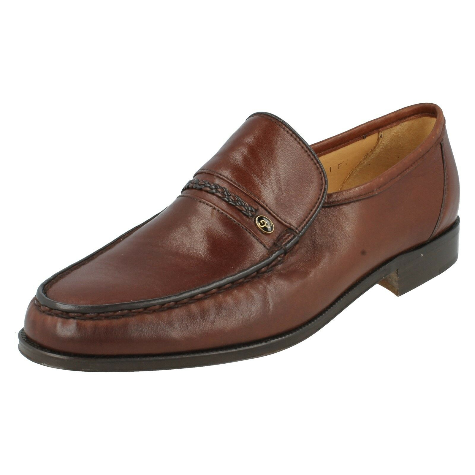 AMOS AMOS AMOS  Herren GRENSON BROWN GREEN PLAIN LEATHER SLIP ON MOCCASIN SMART FORMAL Schuhe 99635d