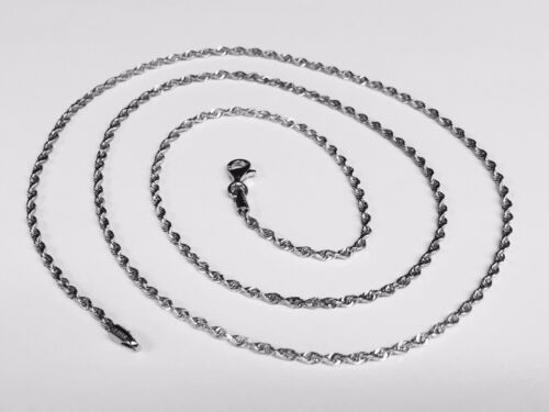 "14kt SOLID WHITE Gold ROPE Pendant link Chain//Necklace 20/"" 2 mm 4 grams WRO14"
