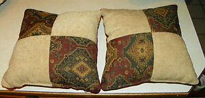 Pair of Beige Burgundy Green Patchwork Decorative Throw Pillows 18 x 18 eBay