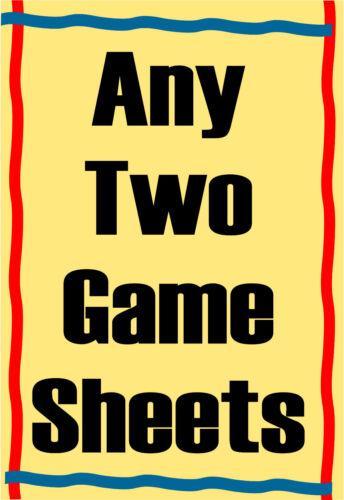 CLUEDO pad cards KISMET: SCORE SHEETS: PRINT YOUR OWN: YAHTZEE SCRABBLE