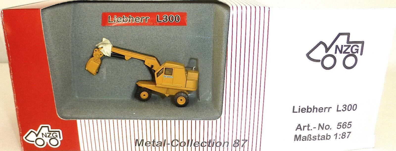 Liebherr L300 Excavadora Móviles Amarillo Nzg 565 Metal Colección H0 1 87
