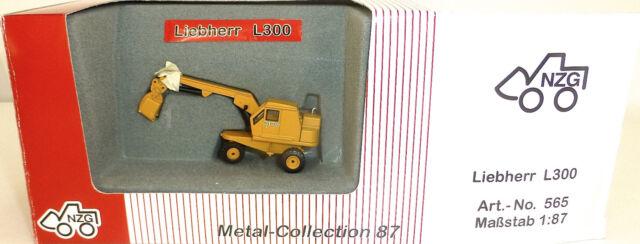 LIEBHERR L300 excavatrice pelle sur pneus JAUNE NZG 565 métal Collection H0 1 :